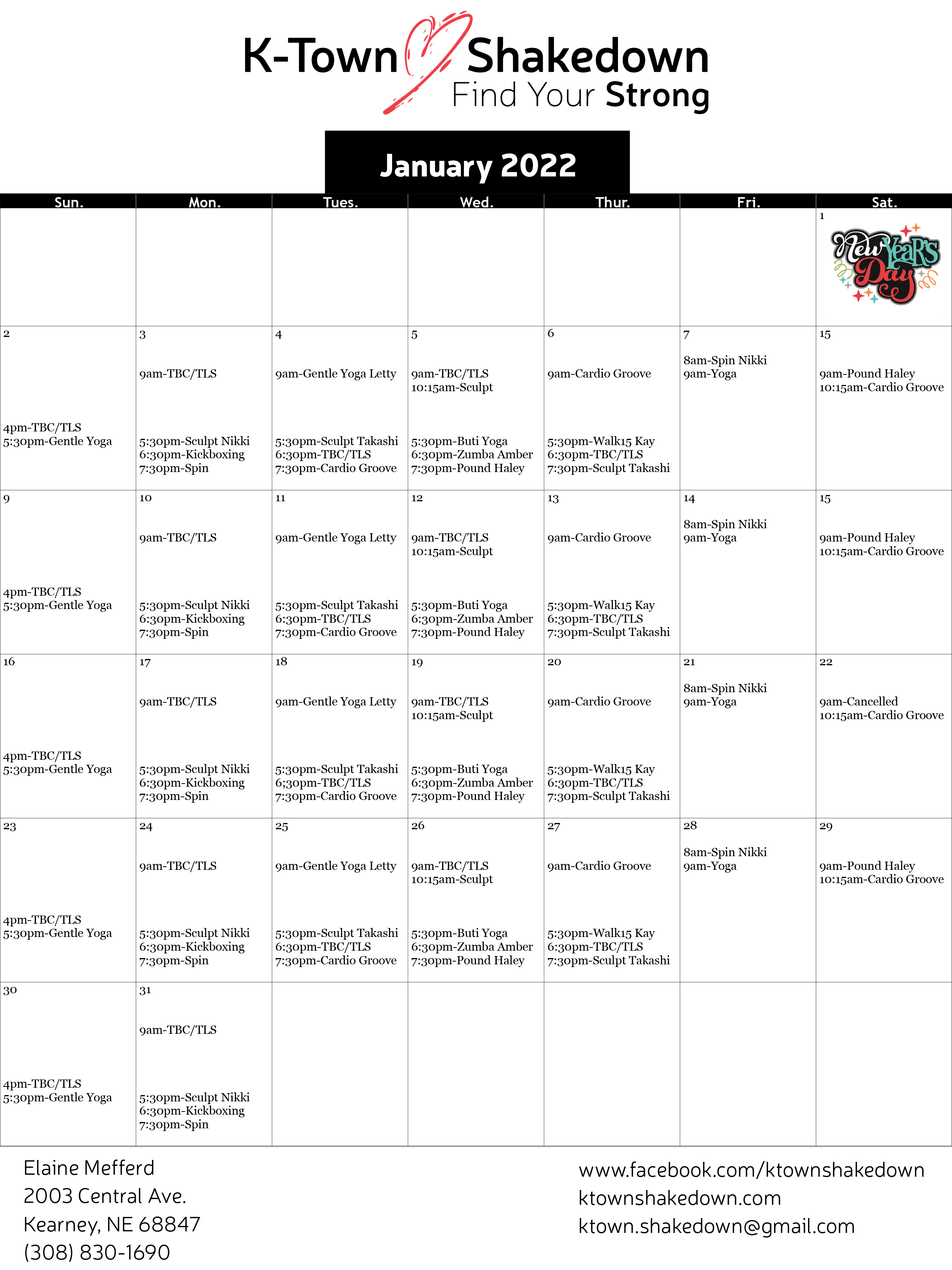 January Schedule